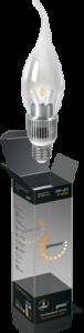 Свеча прозрачная на ветру 5Вт E27 2700K, LED