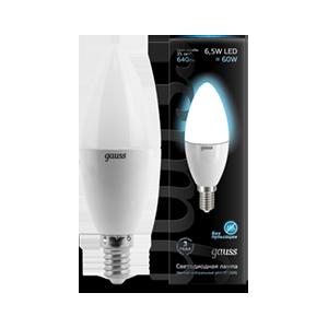 Лампа Gauss LED Candle E14 6.5W 100-240V 4100К 1/10/50