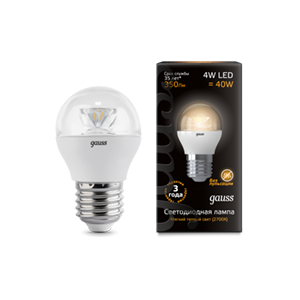 Лампа Gauss LED Globe E27 6.5W 100-240V 2700K 1/10/50
