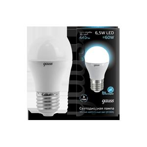 Лампа Gauss LED Globe E27 6.5W 100-240V 4100K 1/10/50