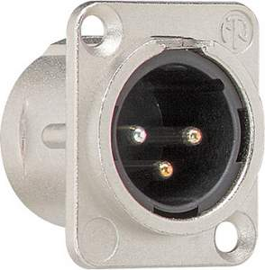 003700 Штепсельный разъем XLR (фланцевый штекер 3 контакта) D-серия