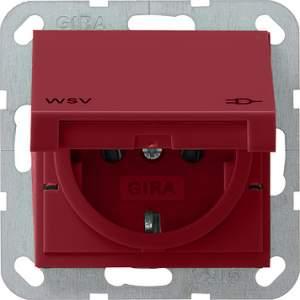 010402 Розетка с ЗК по классу WSV: матовый красный
