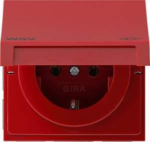 0104119 Розетка с зазем конт с крыш и надп WSV Розетки и выключатели/Gira/Gira F100 серия Красный