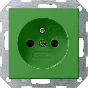 011002 Розекта со штыревым з/к с накладкой зеленого цвета