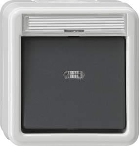 011630 Выключатель сподсветкой и полем для надписи универсальный IP44