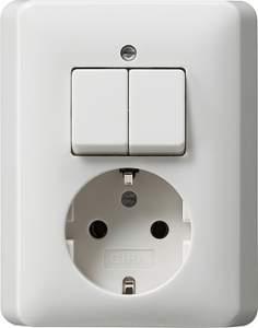 017503 Двухполюсный выключатель с розеткой