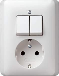 017504 Двухполюсный выключатель с розеткой