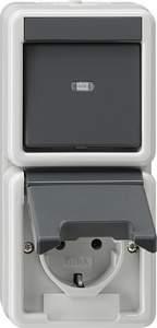 017630 Выключатель 1 клавишный + розетка с з/к. вертикальный блок