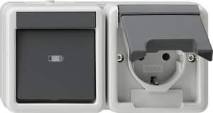 017730 Выключатель 1 клавишный + розетка с з/к. горизонтальный блок
