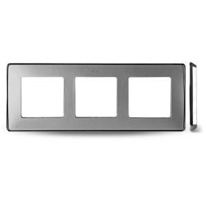 8201630-093 82 Detail Рамка, 3 поста, холодн. алюминий, основание хром
