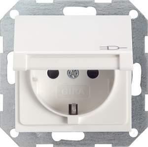 041427 Розетка c з/к, крышкой, с защитой от детей и пиктограммой