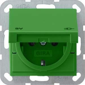 """041502 Розетка с крышкой зеленого цвета и маркировкой """"SV"""""""