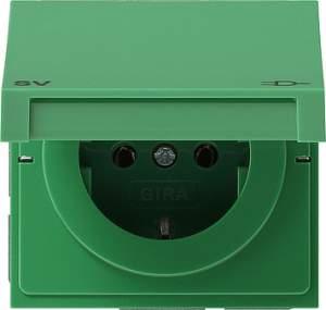0415119 Розетка с зазем конт крышк и надп  Зеленый