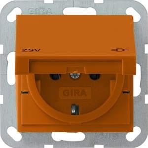 041602 Розетка с зазем конт крышк и надп ZSV Розетки и выключатели/Gira/Gira system 55 серия оранжевый