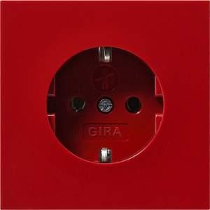 0434119 Розетка с зазем конт защ от дет надп  Красный