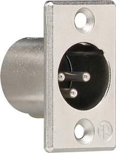 043700 Штепсельный разъем XLR (фланцевый штекер 3 контакта) D-серия