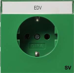 0472119 Розетка с зазем конт поле и надпись SV Розетки и выключатели/Gira/Gira F100 серия Зеленый