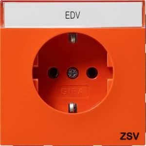 0473119 Розетка с зазем конт поле и надпись ZSV Розетки и выключатели/Gira/Gira F100 серия оранжевый