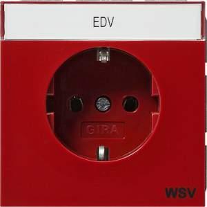 0474119 Розетка с зазем конт поле и надпись WSV Розетки и выключатели/Gira/Gira F100 серия Красный
