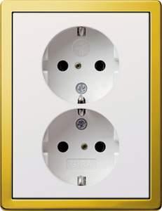 0783116 Двойная розетка с з/к с защитой от детей и пиктограммой с установчной рамкой