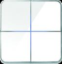 Enzo лицевая панель - четырехклавишный - стекло белое арт.204-04