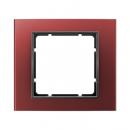 10113012 Рамка B.3, 1-местная, алюминий, цвет: кпасный/антрацит