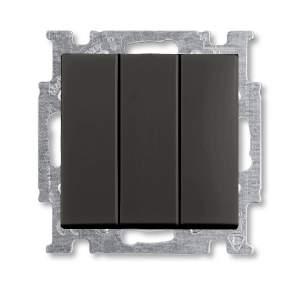1012-0-2173 (106/3/1 UC-95) BJB Basic 55 Шато (чёрн) Выключатель 3-клавишный, 16А