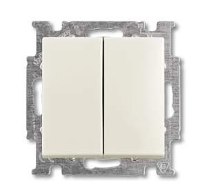 1012-0-2187 (2006/5 UC-96) BJB Basic 55 Шале (бел) Выключатель 2-х клавишный