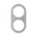 10122014 Рамка R.Classic, 2-местная, нержавеющая сталь цвет: полярная белизна