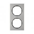 10122204 Рамка R.3, 2-местная, нержавеющая сталь цвет: черный