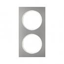 10122214 Рамка R.3, 2-местная, нержавеющая сталь цвет: полярная белизна