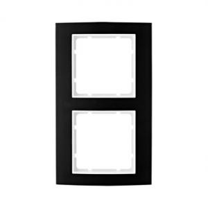 Berker 10123025 Рамкa B.3, алюминий, цвет: черный/полярная белизна серия  купить в Москве, цена в России: опт, розница | smartip