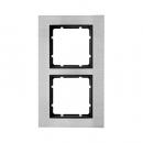 10123606 Рамкa B.7, 2-местная, нержавеющая сталь, цвет: антрацитовый