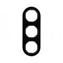 10132016 Рамка, R.Classic, 3-местная, стекло, цвет: черный (185,87)