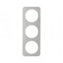 10132114 Рамка, R.1, 3-местная, нержавеющая сталь цвет: полярная белизна (140,54)
