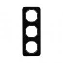 10132116 Рамка, R.1, 3-местная, стекло, цвет: черный (140,54)