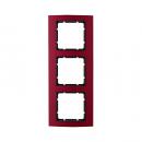 10133012 Рамкa B.3, 3-местная, алюминий, цвет: красный/антрацитовый