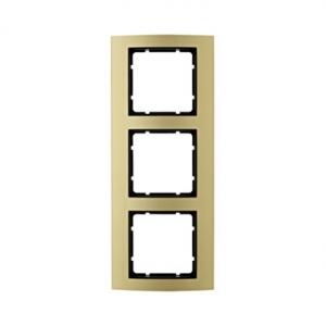 Berker 10133016 Рамкa B.3, 3-местная, алюминий, цвет: золотой/антрацитовый серия  купить в Москве, цена в России: опт, розница |