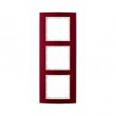 10133022 Рамкa B.3, 3-местная, алюминий, цвет: красный/полярная белизна