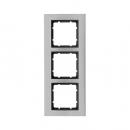 10133606 Рамкa B.7, 3-местная, нержавеющая сталь, цвет: антрацитовый