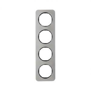 Berker 10142104 Рамка, R.1, 4-местная, нержавеющая сталь цвет: черный (192,23) серия  купить в Москве, цена в России: опт, розни