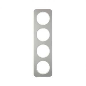 Berker 10142114 Рамка, R.1, 4-местная, нержавеющая сталь цвет: полярная белизна (192,23) серия  купить в Москве, цена в России: