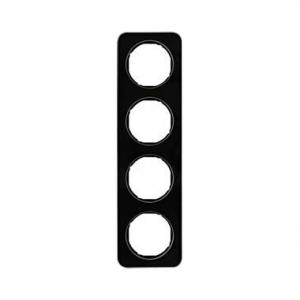 Berker 10142116 Рамка, R.1, 4-местная, стекло, цвет: черный (192,23) серия  купить в Москве, цена в России: опт, розница | smart