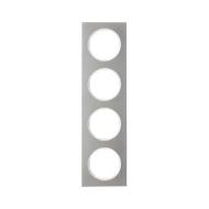 Berker 10142214 Рамка, R.3, 4-местная, нержавеющая сталь цвет: полярная белизна (192,23) серия  купить в Москве, цена в России:
