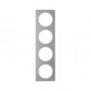 10142214 Рамка, R.3, 4-местная, нержавеющая сталь цвет: полярная белизна (192,23)