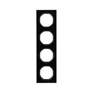 Berker 10142216 Рамка R.3, 4-местная, стекло, цвет: черный (192,23) серия  купить в Москве, цена в России: опт, розница   smarti