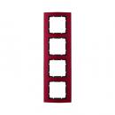 10143012 Рамкa B.3, 4-местная, алюминий, цвет: красный/антрацитовый