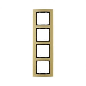 Berker 10143016 Рамкa B.3, 4-местная, алюминий, цвет: золотой/антрацитовый серия  купить в Москве, цена в России: опт, розница |