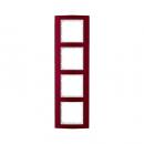 10143022 Рамкa B.3, 4-местная, алюминий, цвет: красный/полярная белизна