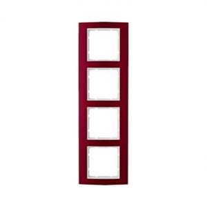 Berker 10143022 Рамкa B.3, 4-местная, алюминий, цвет: красный/полярная белизна серия  купить в Москве, цена в России: опт, розни